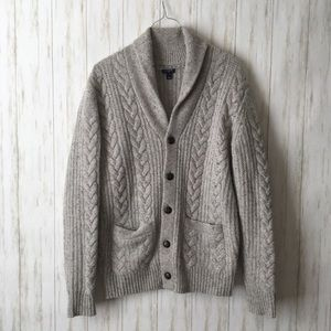 j. crew • Gray Donegal Cable Knit Button Sweater